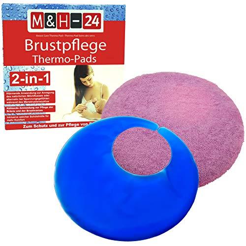 M&H-24 Brustpflege Thermo-Pads Gel Kühlkissen - Wärmende & Kühlende Anwendung für wunde Brust-Warzen mit Schutzhülle Kältetherapie & Wärmetherapie beim Stillen 6 Stück