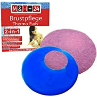 M&H-24 Brustpflege Thermo-Pads Gel Kühlkissen - Wärmende & Kühlende Anwendung für wunde Brust-Warzen mit Schutzhülle Kältetherapie & Wärmetherapie beim Stillen Set 2 Stück