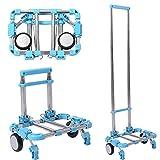 Carretilla de Mano Plegable 2 Ruedas de Aluminio y Plástico Camión de Mano Portátil Carga hasta 30kg Azul
