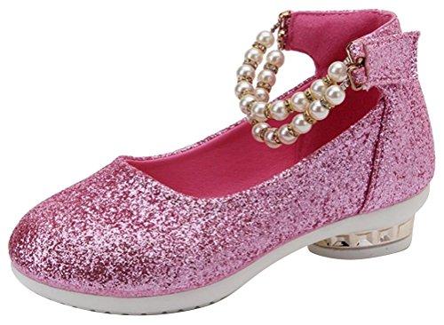426384a58db983 SMITHROAD Mädchen Schuhe Prinzessin Schuhe Perlen Halbschuhe Casual  Hochzeit Ballerinas Knöchelriemchen Rosa Rot Schwarz Gr.