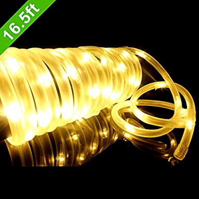 MeiKee 50 LED Solar Rope Lights, 16.5ft ,Warm White, Waterproof , Outdoor Solar Rope Lights ,Christmas Lights, Ideal for Decorations,gardens, Lawn, Patio, Weddings, Parties[Energy Class A+]