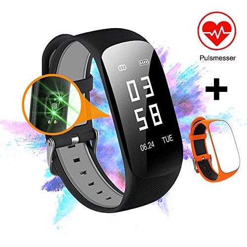Slim Touch Wasserdicht Fitness Armbänder mit Pulsmesser, Armband Fitness Tracker mit Herzfrequenzmesser, Schrittzähler, Schlaf-Monitor, Aktivitätstracker,Anrufen / SMS, für iOS und Android (3.Schwarz+Orange)