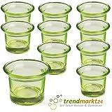 trendmarkt24 Teelichtglas-Set grün ✓ 10er Set ca. 6,5 x 4,5 cm groß ✓ Windlicht-Glas Teelichtgläser   Teelicht-Halter Set ✓ Hochzeits Tischdeko/Geburtstags Deko 37501791