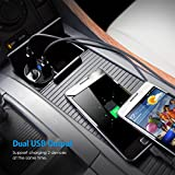 Criacr Bluetooth FM Transmitter, Wireless In-Car FM Transmitter Radio Adapter Car Kit, Universal Car Charger with Dual USB Charging Ports, Hands Free Calling for iPhone X/8/7Plus/7/6/5S, Samsung, etc.