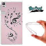 Becool® Fun - Funda Gel Flexible para Bq Aquaris E6 .Carcasa TPU fabricada con la mejor Silicona, protege y se adapta a la perfección a tu Smartphone y con nuestro diseño exclusivo Notas de música