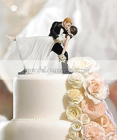 Figurine pour gâteau de mariage couple de mariés, with long handbemaltem en porcelaine - Sposo In Porcellana Wedding Cake Topper