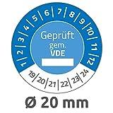 Avery Zweckform 6983 Prüfplaketten (120 Prüfaufkleber aus Vinyl, Geprüft gem. VDE, 2019-2024, Ø 20 mm, im praktischen Block) blau