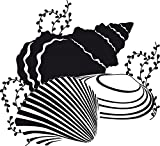 GRAZDesign 650142_30_070 Wandtattoo Muscheln/Ozean - Fliesenaufkleber Unterwasserwelt | Fliesen-Aufkleber-Tattoo für Badezimmer (33x30cm // 070 schwarz)