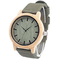 FunkyTop Männer Bambus Holz Uhren mit weichen echten Nylon Armband aus Holz Armbanduhren