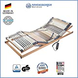 RAVENSBERGER MEDIMED 44-Leisten 7-Zonen-BUCHE-Lattenrahmen | Elektrisch | Made IN Germany - 10 Jahre GARANTIE | Blauer Engel - Zertifiziert | 90 x 200 cm | Kabel-Fernbedienung