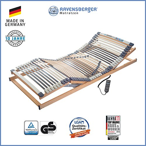 Verstellbarer Lattenrost (RAVENSBERGER MEDIMED® 44-Leisten 7-Zonen-BUCHE-Lattenrahmen | Elektrisch | Made IN Germany - 10 Jahre GARANTIE | Blauer Engel - Zertifiziert | 90 x 200 cm | Kabel-Fernbedienung)