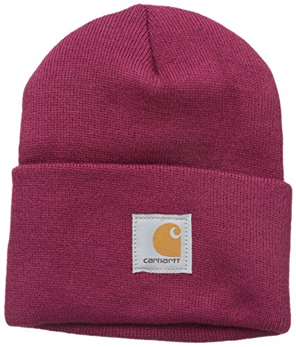 Carhartt Women's Acrylic Rib Knit Watch Hat, Raspberry, One Size
