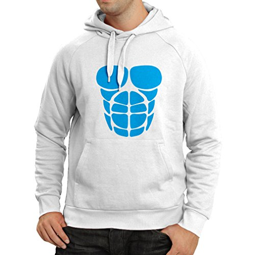 lepni.me KapuzenpulloverFür Ihr Muskelwachstum - lustige Trainingshemden (Small Weiß Blau)