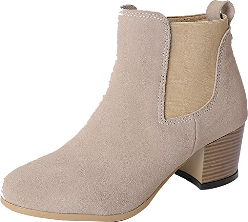 ELEHOT Donna Eledry tacco a blocco 5.5CM Leather Stivali, beige,