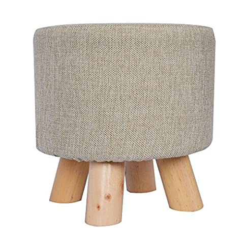 Footstool with 4 wooden legs BigTree Sofa Tea stool Modern Luxury Upholstered Ottoman Round Pouffe Stool Removable Linen Fabric Cover Children Milk Stool Wooden