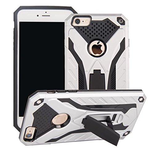 EKINHUI Case Cover Neue Stylish Hybrid Armor Schutzhülle Case Shockproof Dual Layer PC + TPU Back Cover mit Kickstand für [Shock Absorbtion] für iPhone 6 Plus & 6s Plus ( Color : Rosegold ) Silver