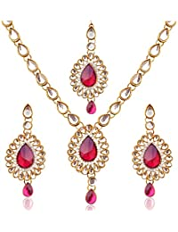 Dancing Girl Bridal Kundans Red Metal Alloy Jewellery Set With Necklace Earrings And Maang Tikka For Women