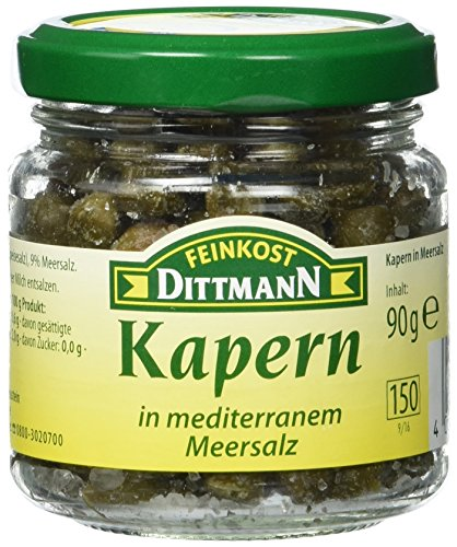 Feinkost Dittmann Kapern in Meersalz Glas, 6er Pack (6 x 90 g)