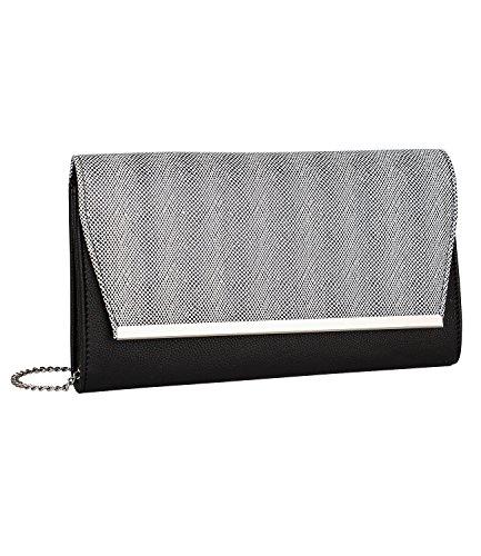 SIX SALE - Damen Damen Abend Handtasche, Clutch, Couvert-Stil, abnehmbare Kettenriemen, Animal Print, schwarz-silber (427-530) (Box-clutch-schwarz-abend-taschen)