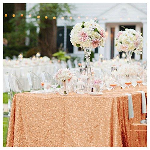 shinybeauty High-Density 228,6x 335,3cm Tischdecke Glitter Tisch Overlays 225x 330, rose gold, 90x132-Inch (Glitter Leinen Tischdecke)