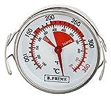 B.PRIME Grill-Thermometer analog Surface – Temperatur-Anzeige von 50-350°C mit 57mm Durchmesser – Höhe 20mm inklusive Hänger 30mm - Ideal zur Messung der Temperatur auf dem Grillrost