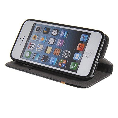 MOONCASE Étui pour iPhone 5 / 5S Housse de Portefeuille Coque en Cuir Protection Case à rabat Doré Gris #1104