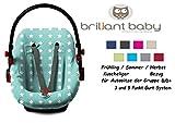 BriljantBaby BabyFit ** Universal Schonbezug 100% Baumwolle Interlock-Jersey ** Für Babyschale, Autositz, z.B. Maxi Cosi CabrioFix, Citi, Pebble u.a. (JADE STERNCHEN)