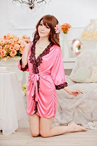 Shangrui Femmes Robe en Soie Ice dentelle à Manches Longues Pyjamas Peignoir W411 Rose