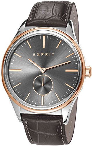 Esprit Barton Men's Quartz Watch with Grey Dial Analogue Display and Grey Leather Strap ES108011002