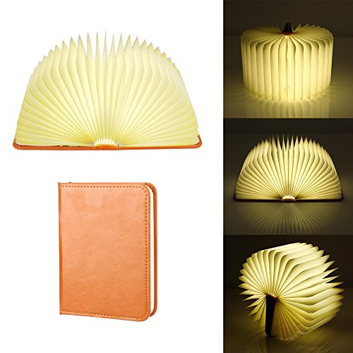 Rechargeable LED Mood Lighting,Colleer Multi-Color Night Light Wooden Foldable Book Shaped Light,Ideal as Book Lamp, Table Lamp, Wall Lamp, Floor lamp, Bedside Lamp and Desk Lamp (2000mAh)