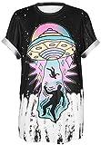 Ocean Plus Unisex Camiseta Alien 3D Estampado Pintada Loose Fit Insano Wild Cuello Redondo tee Locura Loca Tops Mangas Cortas (S/M (Pecho: 94-114cm), 005 UFO)