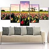 Liuuroc Impression sur Toile Type Oeuvre Moderne Salon Décoration Murale 5 Tulipe...