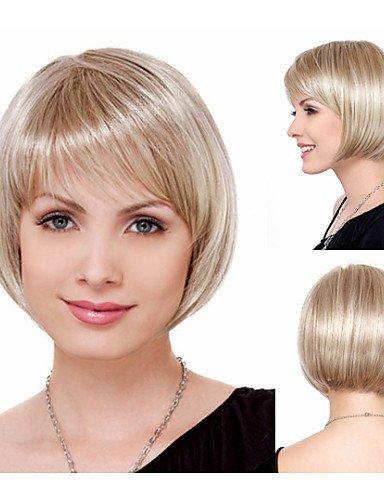 Fashion Natural Chic Bob Haare schneidet Synthetische Perücken für Frauen Short Straight Blonde Full Perücken mit Pony (Medusa Halloween Haar)