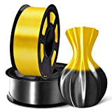 SUNLU 3D Filament 1.75, Shiny Silk PLA Filament 1.75mm, 2KG PLA Filament 0.02mm for 3D Printer 3D Pens, Black + Yellow