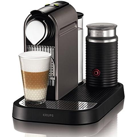 Nespresso Citiz & Milk Titan XN730TP4 Krups  - Cafetera monodosis (19 bares, preparación manual cappuccino, modo ahorro energía), color negro y plata