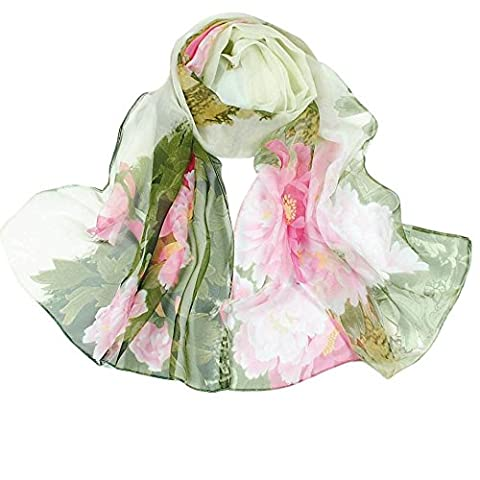 Bescita Fashion Chinese style Lady Long Wrap Women's Shawl Chiffon Scarf Scarves Headdress Stole Wraps Pashmina (Green)