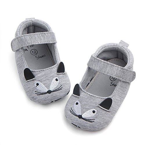 FemmeStopper BABY SHOES 12-18 Months(14cm) Cute Baby Girls Shoes First walkers Cotton Grey Cartoon Mouse Soft with Pattern Shading Soft Sole Baby Toddler Prewalkers Princess Baby Shoes