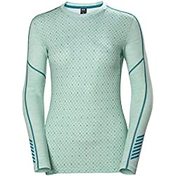 Helly Hansen LIFA Merino Graphic Crew Thermal Baselayer Camiseta Deportiva Manga Larga, Mujer, Blue Tint Melange, M