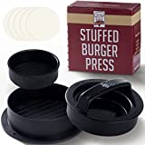 Non Stick Hamburger Press Maker + 40 Free Wax Paper Discs - Easy to Use, Dishwasher Safe - Works Best for Stuffed Burgers, Sliders, Regular Beef Burgers - Essential Kitchen & Grilling Accessories