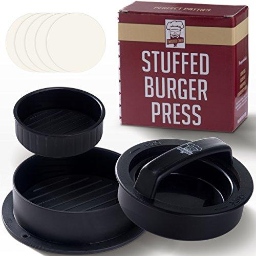 Antihaft-Hamburgerpresse, 40 Wachspapierscheiben kostenlos Ð Einfache Bedienung, SpŸlmaschinengeeignet Ð Funktioniert am Bested n mit gefŸllten Patties, Minipatties, Rinderpatties Ð Basics fŸr Grill