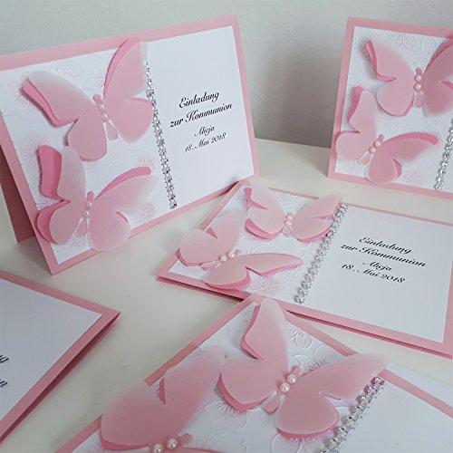 12 personalisierte Einladungskarten zur Taufe Kommunion Konfirmation Taufeinladung Taufkarten Schmetterlinge rosa Handarbeit binnbonn