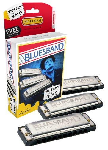 Hohner Bluesband Mundharmonika-Set von 3-Schlüssel von C, G und ein-Value Pack -