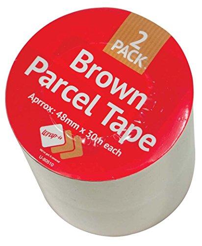 LOT SHOP Beaucoup Shop Marron ruban adhésif d'emballage 2pk 48 mm x 30 m solide Sticky Sellotape d'étanchéité Rouleaux Bundle, Lot de 2