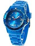 DETOMASO Damenuhr Quarz Kunststoffgehäuse Silikonarmband Mineralglas COLORATO M Silikon Ladies blau/blau DT3007-D