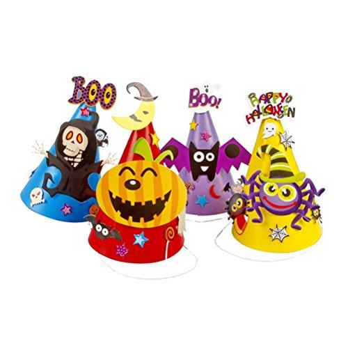 alloween Party Hut 4 Stücke für Kinder Kinder (Schädel Fledermaus Kürbis Spinne) (Diy Trick Or Treat Kostüme)