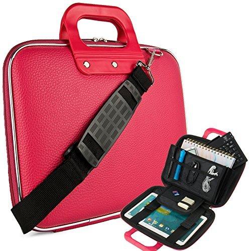 Vegan Leather Ellen Cube Carrying Pink Shoulder Bag w/ Handles For Samsung Galaxy 9.7