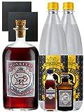 Gin-Set Monkey 47 SLOE GIN Schwarzwald Dry Gin 0,5 Liter + Haymans Sloe Gin 5cl + Monkey 47 Schwarzwald Dry Gin 5cl MINIATUR + 2 x Thomas Henry Tonic Water 1,0 Liter + 2 Schieferuntersetzer quadratisch 9,5 cm