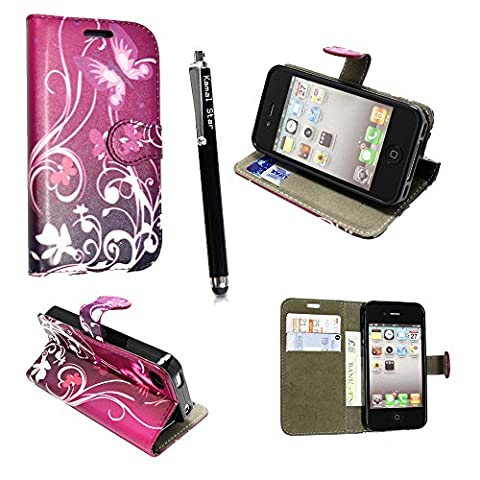 Kamal Star® Various Apple Phones Premium PU Leather Stand View Wallet Magnetic Flip Case Cover + Stylus (iPhone 6 (4.7'') / iPhone 6S (4.7''), Purple Butterfly