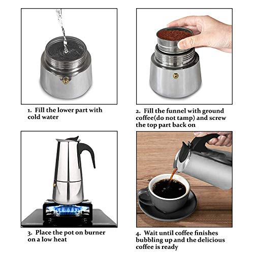 51vMZmgm1sL. SS500  - JIN CAN High Quality Mocha Pot, Made of 430 Stainless Steel, 6 Cups (300 ml), Portable Electric Coffee Machine, Espresso…