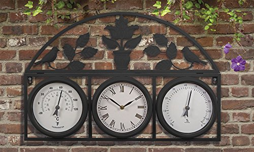 Image of Decorative Large Outdoor Clock for the Garden Wall and Fence Mountable Weatherproof Weather Station Thermometer Hygrometer (Black)